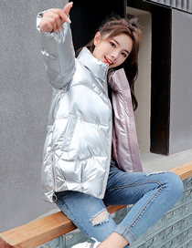 Fashion Silver Color Glossy Stand Collar Loose Down Cotton Coat