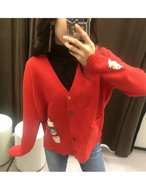 Fashion Red Bunny Embroidery V-neck Lace Cardigan Sweater