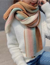 Fashion Khaki Stripes Woolen Knitted Contrast Scarf