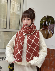 Fashion Red Wine Check Diamond Knitted Wool Scarf