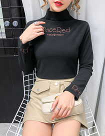 Fashion Black Letter Embroidered Turtleneck Tight Bottoming Shirt