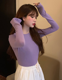 Fashion Purple Round Neck Solid Color Slim Long Sleeve Bottoming Shirt
