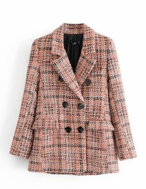 Fashion Plaid Checked Double-breasted Blazer