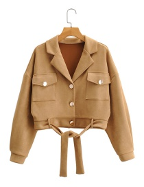 Fashion Khaki Buckskin Fleece Jacket Jacket With Waist Belt