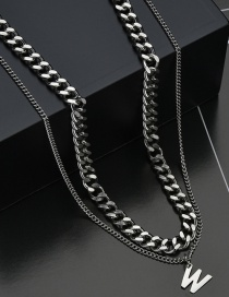 Fashion W Word Necklace Letter Double-layer Titanium Steel Necklace