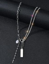 Fashion Diamond Square Necklace Pearl Square Double-layer Diamond Letter Necklace