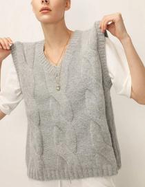 Fashion Gray Eight-strand Woven V-neck Knitted Vest
