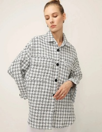Fashion White Textured Houndstooth Single-breasted Coat