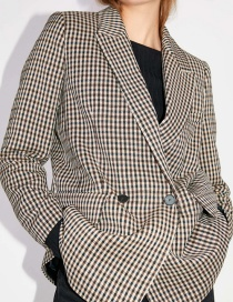 Fashion Light Brown Houndstooth Double-breasted Blazer