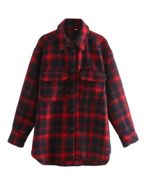 Fashion Red And Blue Plaid Single-breasted Loose Shirt Jacket