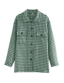 Fashion Green And White Houndstooth Single-breasted Shirt Jacket