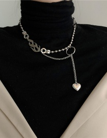 Fashion Silver Color Love Flame Alloy Round Bead Chain Necklace