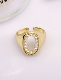 Fashion Oval Pearl Starry Hollow Heart Oval Alloy Ring