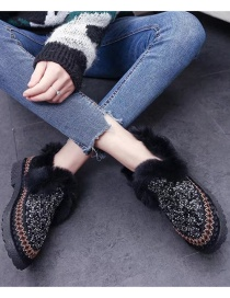 Fashion Black Flat And Velvet Soft Sole Sequined Peas Shoes