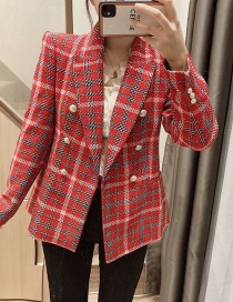 Fashion Red Checked Double-breasted Loose Suit Jacket