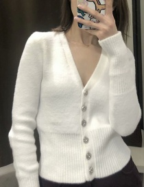 Fashion White Solid Color Jewel Button Knitted V-neck Single-breasted Jacket