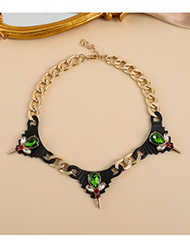 Fashion Green Alloy Diamond Drop Necklace