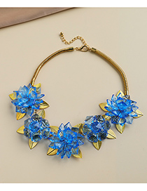 Fashion Blue Alloy Resin Flower Necklace