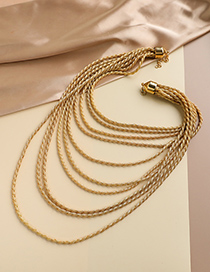 Fashion Gold Color Alloy Twist Shape Multilayer Necklace