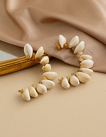 Fashion Yellow Alloy Resin Natural Stone Shell U-shaped Earrings