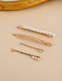 Fashion Gold Color Alloy Pearl One-word Hairpin Set
