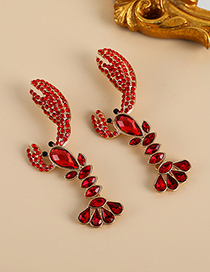 Fashion Red Alloy Diamond Crayfish Stud Earrings