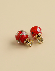 Fashion Red Alloy Resin Watercolor Pattern Earrings