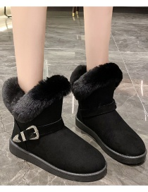 Fashion Black Plush Padded Flat-bottomed Snow Boots With Belt Buckle