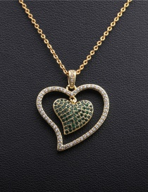 Fashion Love O Child Chain Gold Micro Inlaid Zircon Heart Hollow Necklace