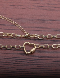 Fashion 50mm Chain + Peach Heart G Heart Lock Thick Chain Gold-plated Copper Necklace