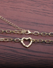Fashion 50mm Chain + Love D Micro Inlaid Zircon Heart Hollow Necklace
