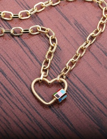 Fashion 50mm Chain Heart Diamond-studded Love Heart Dripping Oil Hollow Copper Gold-plated Necklace