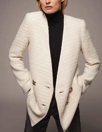 Fashion Creamy-white Textured Double-breasted V-neck Coat