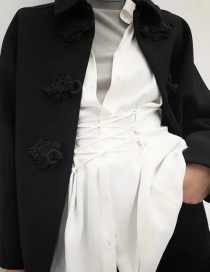Fashion Black Knotted Solid Wool Coat Coat