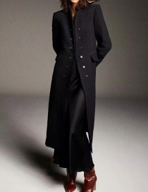 Fashion Black Double Breasted Solid Color Long Coat