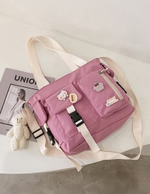 Fashion Pink Bear Stitching Contrast Color Bear Buckle Crossbody Shoulder Bag