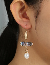 Fashion Golden Geometric Natural Abalone Shell Shaped Pearl Earrings