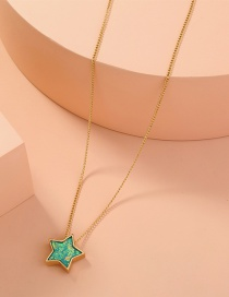 Fashion Golden Resin Five-pointed Star Pendant Necklace