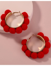 Fashion Red Hairball Ring Alloy Earrings