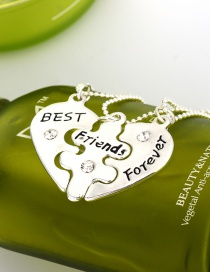 Fashion Silver Drop Oil Letter Love Alloy Multilayer Necklace