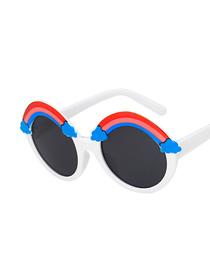 Fashion Solid White Rainbow Frame Uv Protection Children Sunglasses