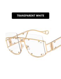 Fashion Transparent White Large-frame Rivet Irregular Alloy Resin Sunglasses
