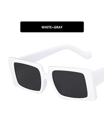 Fashion Real White Gray Flakes Rectangular Resin Wide Temple Sunglasses