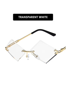 Fashion Transparent White Film Rimless Trim Diamond-shaped Resin Sunglasses