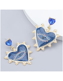 Fashion Blue Heart-shaped Resin Imitation Pearl Acrylic Earrings