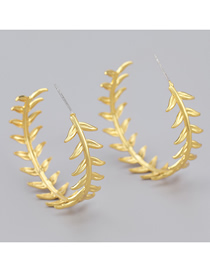 Fashion Gold Color Leaf C-shaped Alloy Earrings
