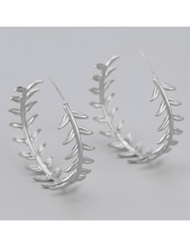 Fashion Silver Color Leaf C-shaped Alloy Earrings