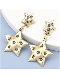 Fashion Silver Color Five-pointed Star Alloy Diamond Earrings