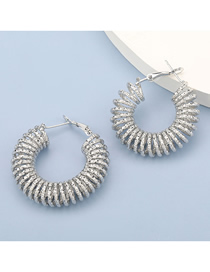 Fashion Silver Color Thread Spring Circle Alloy Earrings