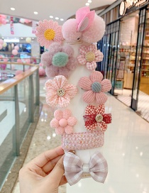 Fashion 10-piece Set Of Pink Bunny And Pink Flowers Flower Love Bunny Plaid Geometric Children Hairpin